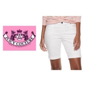 Juicy Couture White Mid Bermuda Jean Shorts Sz 16